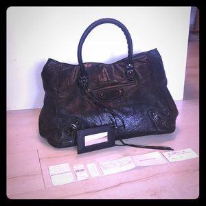 Balenciaga Classic City Blk Lambskin Leather Satch